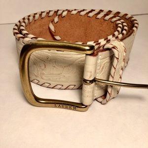LAUREN RALPH LAUREN Tooled Leather Belt Off White